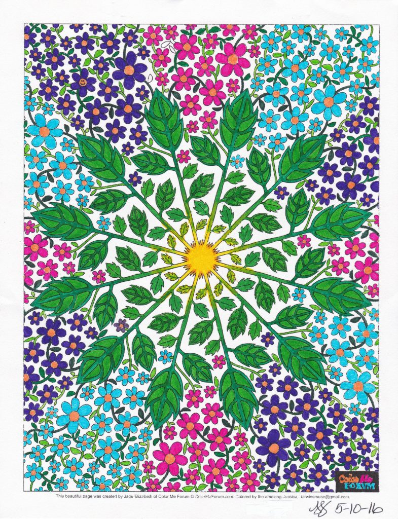 Daisy Mandala colored by JJColorzArt