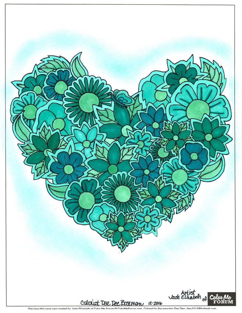 Paper Flower Heart colored by Dee Dee Boseman