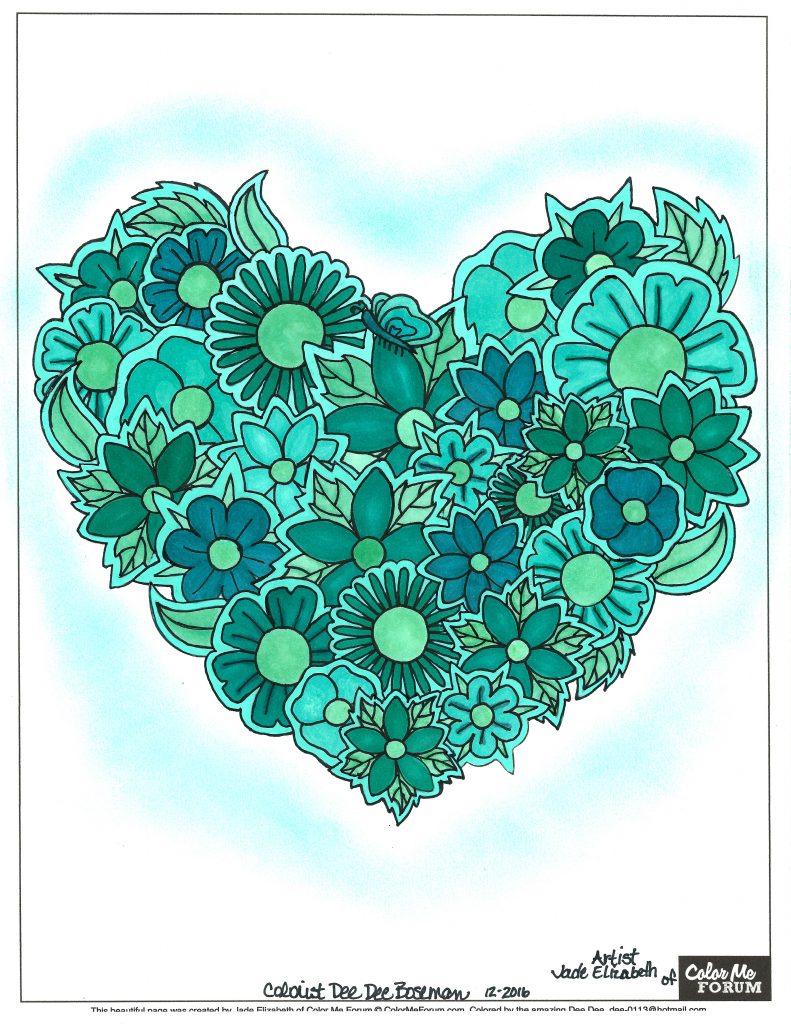Paper Flower Heart colored by Dee Dee Boseman