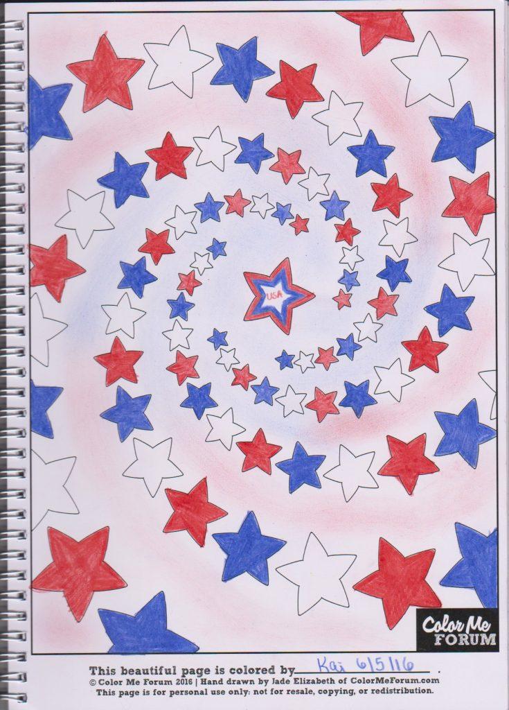 Star Spiral colored by Karen Litten Hunter