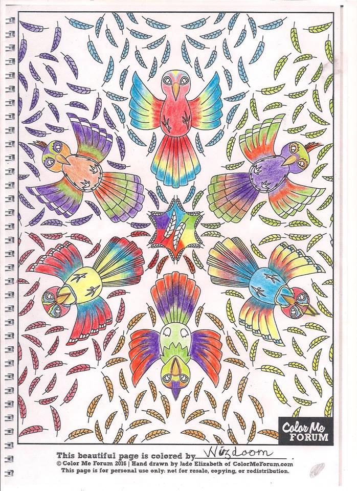 Birdies Mandala colored by VVisdoom